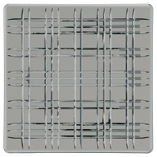 Square Lead-Free Crystal Platter, Smoke, 28cm