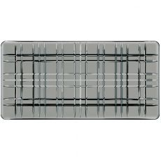 Square Rectangular Lead-Free Crystal Platter, Smoke, 28cm