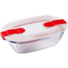 Cook & Heat Rectangular Glass Roaster With Microwave Safe Lid