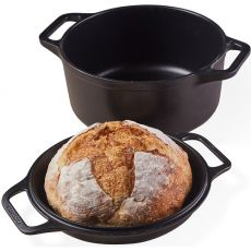 Seasoned Cast Iron Casserole with Reversible Grill Pan Lid, 5.6 Litre