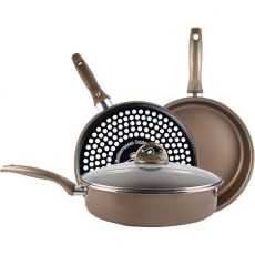 Vitrinor Champagne Non-Stick Deep Frying Pan With Lid, 28cm