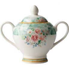Green Floral Sugar Bowl