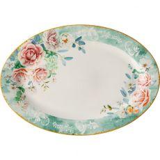 Green Floral Oval Platter