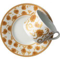 Mica Gold Tea Cup & Saucer, Set Of 2