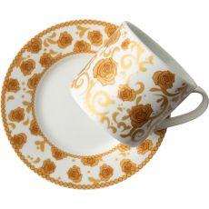 Mica Gold Cappucino Cup & Saucer, Set Of 2