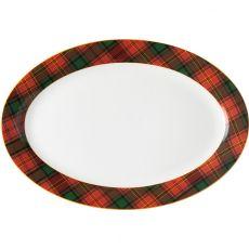 Red Tartan Oval Platter