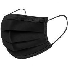 3 Ply Disposable Black Surgical Face Masks, Pack of 50