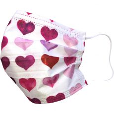 3 Ply Disposable Surgical Face Masks, Water Colour Hearts, Pack of 50