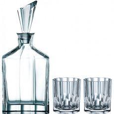 Aspen Lead-Free Crystal 3pc Whiskey Glasses & Decanter Set