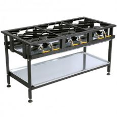 6 Burner Gas Boiling Table, Staggered