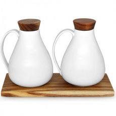 Just White Oil & Vinegar Serving Set On Acacia Board