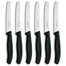 Swiss Classic Serrated Rounded Boxed Steak Knife Set, 6pc, Black