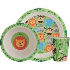 3pc Fibre Bamboo Kids Eatware Set, Jungle
