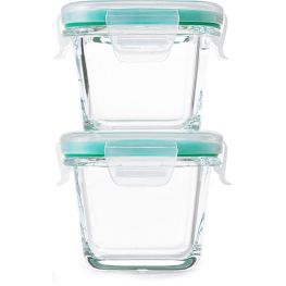 Good Grips Smart Seal Mini Square Glass Containers, Set of 2