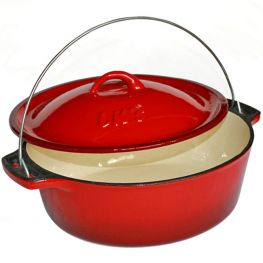 Size 12 Enamelled Cast Iron Bake And Braai Pot, Red