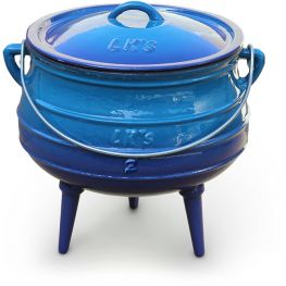 Enamelled Cast Iron Potjie Pot, Blue