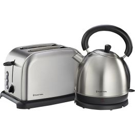 Brushed Stainless Steel Kettle & Toaster Breakfast Pack