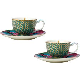 Teas & C's Silk Road Footed Demi Cup & Saucer, Set Of 2