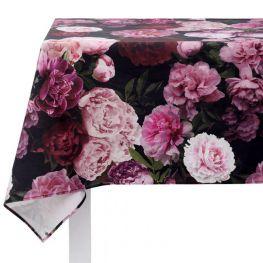 Botanica Black Peony Square Tablecloth, 4 Seater