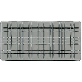 Square Rectangular Lead-Free Crystal Platter, Smoke, 28cm