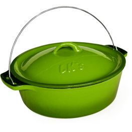 Enamelled Cast Iron Bake And Braai Pot, Green