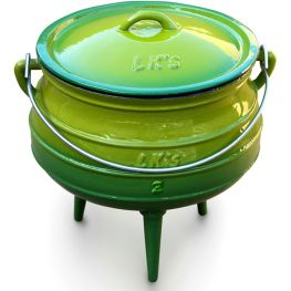 Enamelled Cast Iron Potjie Pot, Green