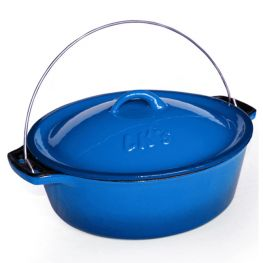 Enamelled Cast Iron Bake And Braai Pot, Blue