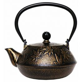 Cast Iron Tetsubin Teapot With Infuser, Black And Gold Floral, 650ml