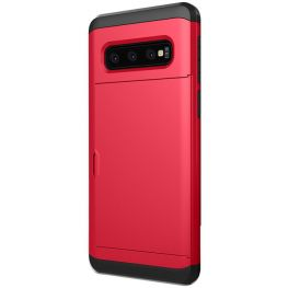 Dual Layer Armour Credit Card Case For Samsung Galaxy S10e-Red