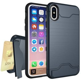 Shock Proof Dual Layer Armour Case With Stand And Card Slot For iPhone XS