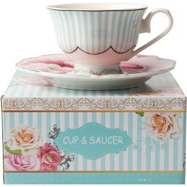 Wavy Rose Cup & Saucer, Gift Boxed