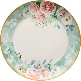 Green Floral Dinner Plate, Set Of 4