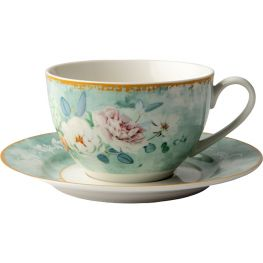 Green Floral Cup & Saucer, Set Of 4