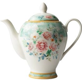 Green Floral Teapot