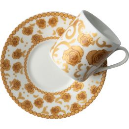 Mica Gold Espresso Cup & Saucer, Set Of 2