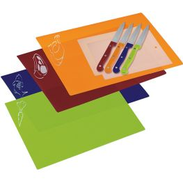 Colour Coded Chopping Mats And Paring Knife Set