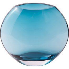 Turquoise Round Glass Vase, 21cm