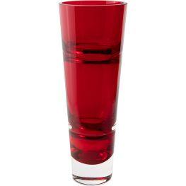 Deep Red Glass Vase, Lines, 34cm