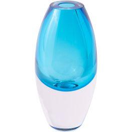 Turquoise Glass Vase, 24cm