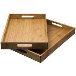 Bamboo Trays With Handles, Set Of 2