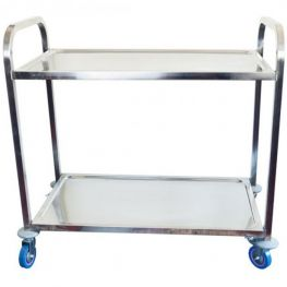 2 Tier Stainless Steel Tea Trolley