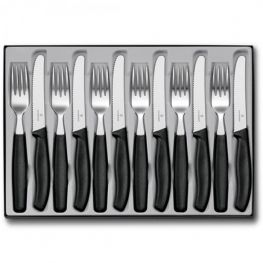 Swiss Classic Cutlery Set, Black, 12pc