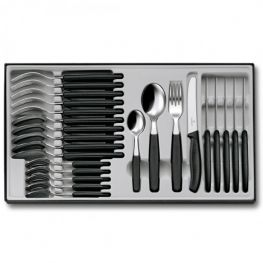 Swiss Classic Cutlery Set, Black, 24pc
